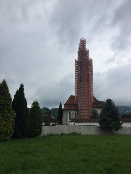 Gerüstwerbung, Brunner, Höchst