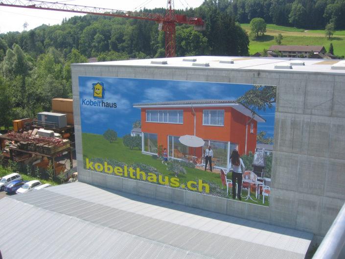 Textilspannrahmen, Textilfassade, Kobelthaus, Schweiz