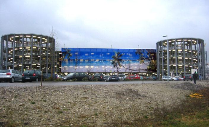 Textilfassade, Parkhaus Therme Erding