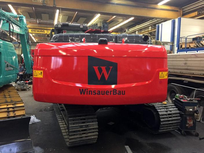 Beschriftung Bagger, Winsauerbau