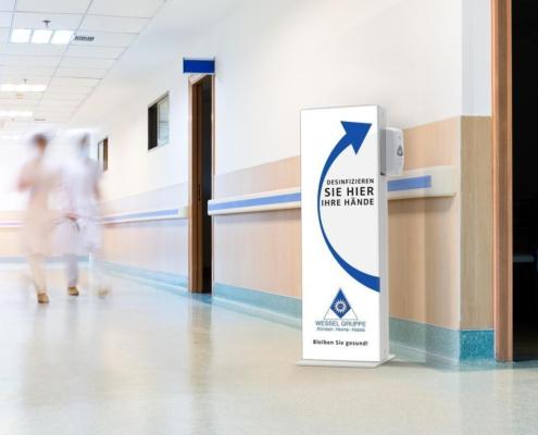 Desinfektionsmittelspender neutral weiss logo Schutzzonen