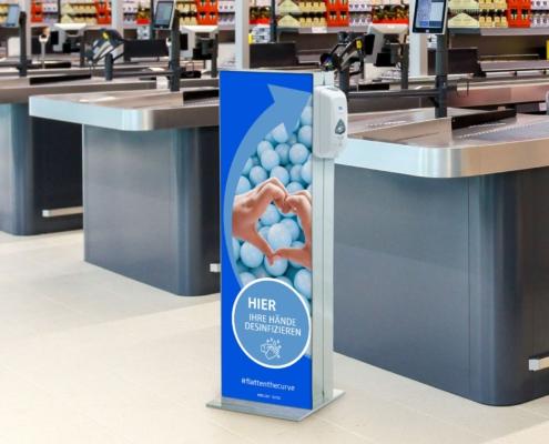 Desinfektionsmittelspender neutral blau Schutzzonen