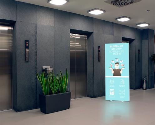 Infostehle POP Aufzug Schutzzonen
